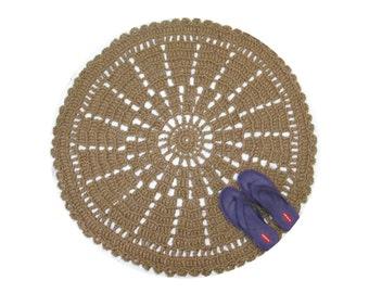 Round Jute Rug - Sustainable Fiber Rug - Round Throw Rug - Outdoor Mandala Rug - Wheel Rug - Jute Area Rug - Indian Decor - Southwestern