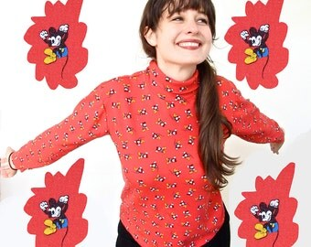 Vintage Mickey Mouse Turtleneck . 1980s Long Sleeve Turtleneck