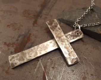 Large Christian Cross Light Textured White Bronze Necklace Jewelry For Men or Women