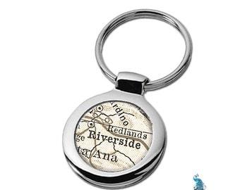 Map Keychain Riverside California Key Ring Fob