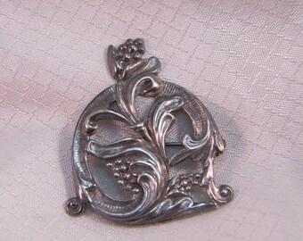 Vintage Sterling Victorian Flower Brooch