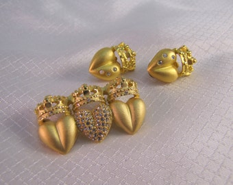 Vintage c1980's Gold Plated Heart and Crown Brooch and Earrings