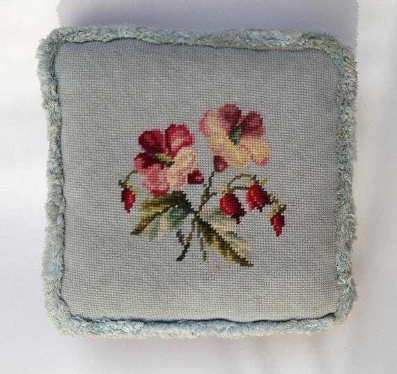 retro blue/burgundy needlepoint pillow with fringe