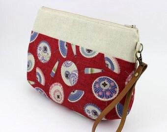 Wristlets, Anniversary Gift, Clutch Purse, Handmade Bag, Kimono Fabric, Kasa, Umbrella Red