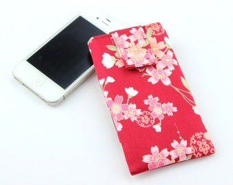 Phone Sleeve, Phone Pouch, iPhone, Galaxy S4, Galaxy S6, Padded Sleeve, Cherry Blossoms Red