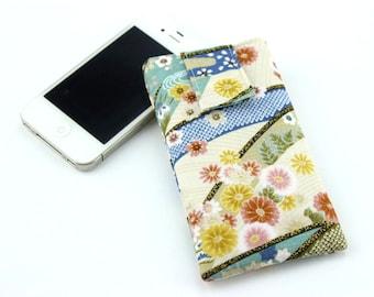 Iphone Plus, Phone Pouch, Iphone 6 Plus, Iphone 6, Fabric Phone Case, Gadget Case, Chrysanthemum White Blue
