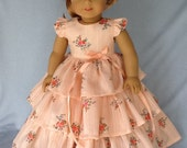 Reserved for Aretha. 18 inch Retro ruffled  doll dress. Fits American Girl Dolls. Vintage peach floral.