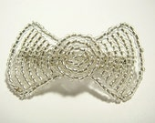 Silver Hair Bow Crystal Fascinator - Large Victorian Beaded Hairbow - Silverlined Collection