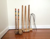 Wooden Croquet Set of Three Mallet and Balls with 2 Markers
