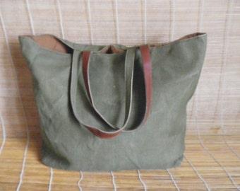 Vintage Medium Size Army Green Canvas Tote Shoulder Bag