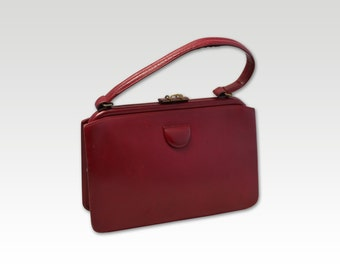 Vintage, Burgundy Leather Handbag, Purse, Top Handle Bag, circa 1960s