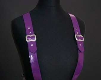 Purple PVC Vinyl Body Harness Under Bust Shoulder Straps