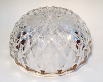 Vintage Mid Century Cut Glass Bowl with Silver Trim Holiday Serving