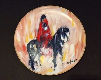 "De Grazia Paints the West Vintage ""Morning Ride"" 1986 Porcelain Plate Edition 3147/7500"