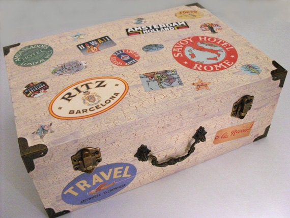 Keepsake box, travel wedding card box, vintage luggage labels, jewelry box, travel party decor, Paris, London, Hawaii, New York, Rome