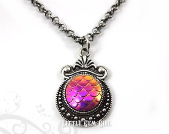 Magenta Gold Dragon Necklace - Silver or Bronze in 12 Colors - Color Changing Hot Pink Mermaid Scale Charm - 18 in Mother of Dragons Jewelry