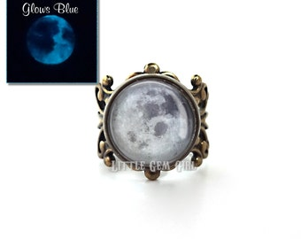 Glow in the Dark Full Moon Ring - Vintage Bronze or Silver Filigree Setting - Glowing Moon Ring - Moon Jewelry - Full Moon Adjustable Ring