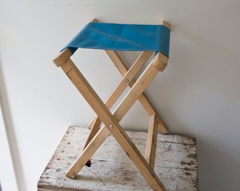 Vintage Camp Stool - Blue Teal Green Wooden Folding Stool Canvas Foldup Stool Folding Seat Camping Beach Tailgate Chair