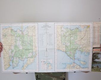 Vintage Map - Hiawatha National Forest Park Michigan Upper Penisula National Geographic Park Map Escanaba 1963