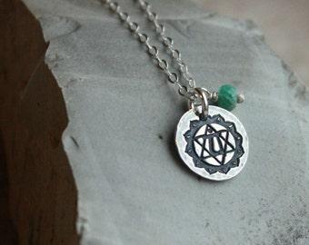 4th Chakra Necklace- Heart Chakra, Silver Chakra Necklace
