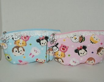 """Fluffy Rounded Padded Zipper Pouch / Cosmetic Bag Made with Japanese Cotton Fabric """"Tsum Tsum - Ripple"""" Choose Your Color"""
