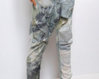 60-70cm BJD Grey, Green & White Pattern Harem Pants