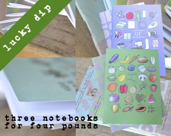 Lucky Dip Notebooks - Three Notebooks - Recipe Book, Sketchbook, Jotter