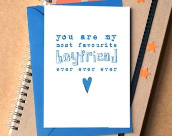 Favourite Boyfriend Card - birthday card for boyfriend - funny card for boyfriend - anniversary card for boyfriend - funny valentine card