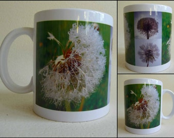 art print mug, printed image,nature scene,dandelion,blowball, natural, woodlands, forest, woods, flowers, plants 11 oz, tea, coffee, cup