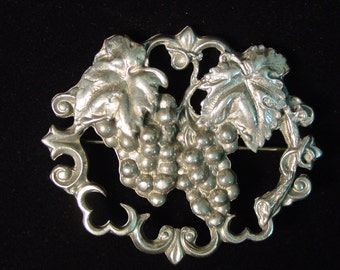 Vintage Silver Pewter Cluster of Grapes Brooch