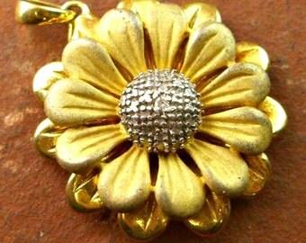 Vintage Vermeil Diamond Sunflower Pendant
