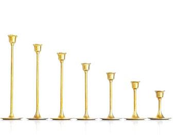 Brass Candlesticks Brass Candle Holders Set of 7 Graduated Brass Candlesticks Wedding Candlesticks Brass Candlesticks