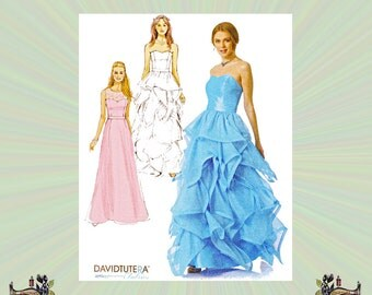 Strapless Formal Dress with Boned Bodice & Flounced Skirt by David Tutera, Size 14-16-18-20 Bust 36-38-40-42-44, McCalls Sewing Pattern 7124