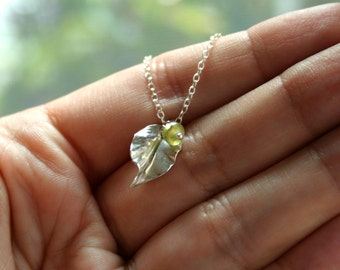 Leaf - sterling silver small leaf pendant with your birthstone