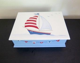 Sailboat memory box, boy christening box, nautical theme box, boy keepsake box