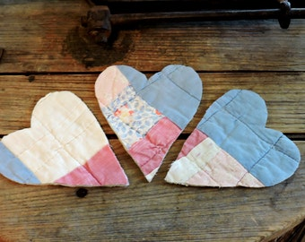 Cutter Quilt Hearts, Prim Appliques, Old Primitive Patchwork Quilted Fabric Heart Cutout,s Crafting Scrapbook Embellishments itsyourcountry