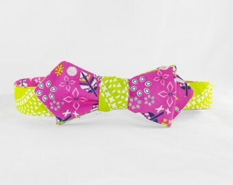 Bow Tie - Self Tie - Floral and Feathers - Tribal Arrows - Reversible - Couture