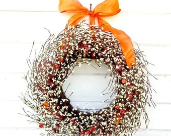 Fall Wreath-READY to SHIP-Fall Berry Wreath-ORANGE Door Wreath-Autumn Wreath-Fall Home Decor-Choose Made-Scented Wreaths
