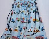 Hanging Laundry Bag - Cars,Tractors, Diggers and Trucks, Toy Bag, Storage Bag, Drawstring Fabric Bag