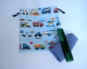 Boys Transport Drawstring Wash Bag, Waterproof Sleepover Wash Bag, Camping Toiletry Bag