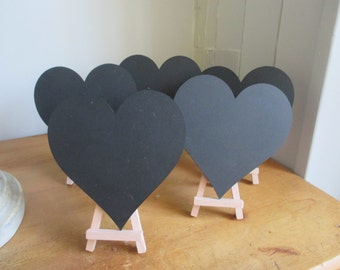 Heart Chalkboards -Mini Chalkboard Wedding Table Numbers - Easel Table Numbers - Chalkboard Table Numbers - Set of 10