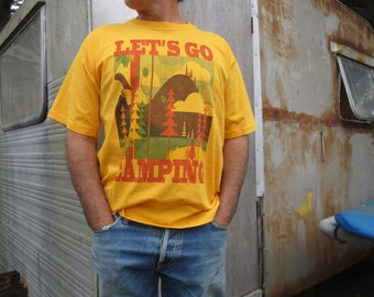 Lets Go Camping T shirt Mens Yellow Large