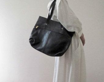 Vintage Pierre Balmain Black Genuine Leather Bag Large