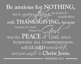 Philippians 4:6-7  Be Anxious for Nothing, Scripture Art, Graduation Gift, Typography, Wall Art Print, Confirmation Gift