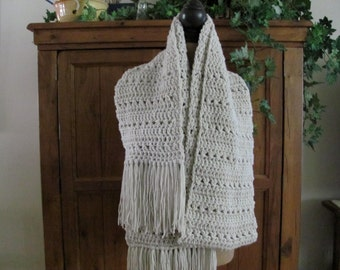Blanket Scarf Super Scarf Oversized Crocheted Scarf Beautiful Linen Cream Super Soft Acrylic Yarn Unisex Bulky Long Oatmeal, Beige Scarf