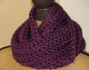 Plum Skinny Scarf Women/Teen Cowl/Infinity Scarf Purple/Plum Colored Hand Crocheted Super Soft Scarf from Hometown USA Yarn -Teen Gift Idea