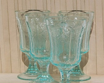 Turquoise Indiana Glass Goblets