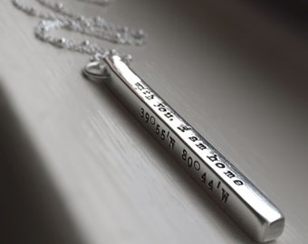 Sterling Silver Bar Necklace Four Sides 4 sided Silver Bar Personalized Hand Stamped Engraved Jewelry