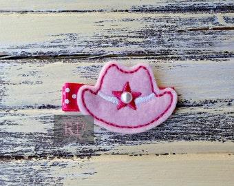 Felt Cowboy Hat on Alligator Clip - Western Clip - Embroidered Felt - Hair Clip