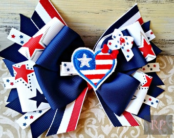 Patriotic Stacked Boutique Hairbow with American Flag Heart Clip Center -4th of July Hair Clip - Hand Sewn Bow - RTS (Ready to Ship)